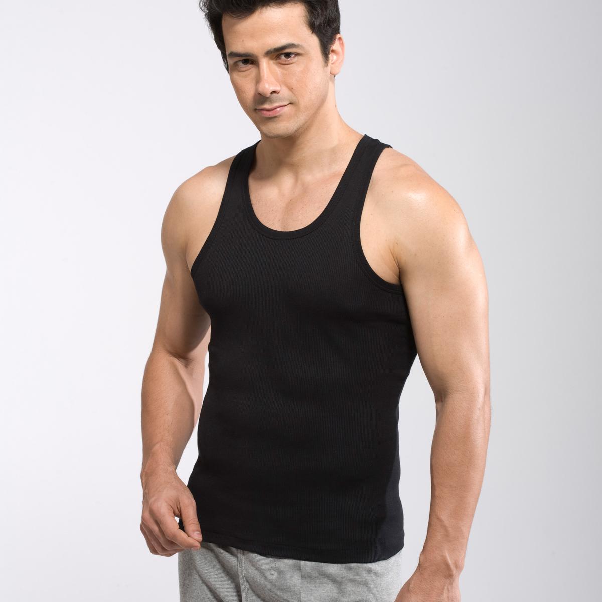 男士 背心 纯棉圆领紧身Vest修身款打底衫薄款运动健身粗罗纹背心