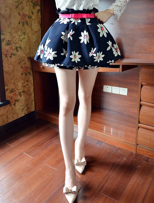2015新款短裙女夏 印花高腰蓬蓬裙修身a字裙防走光碎花半身裙裤裙
