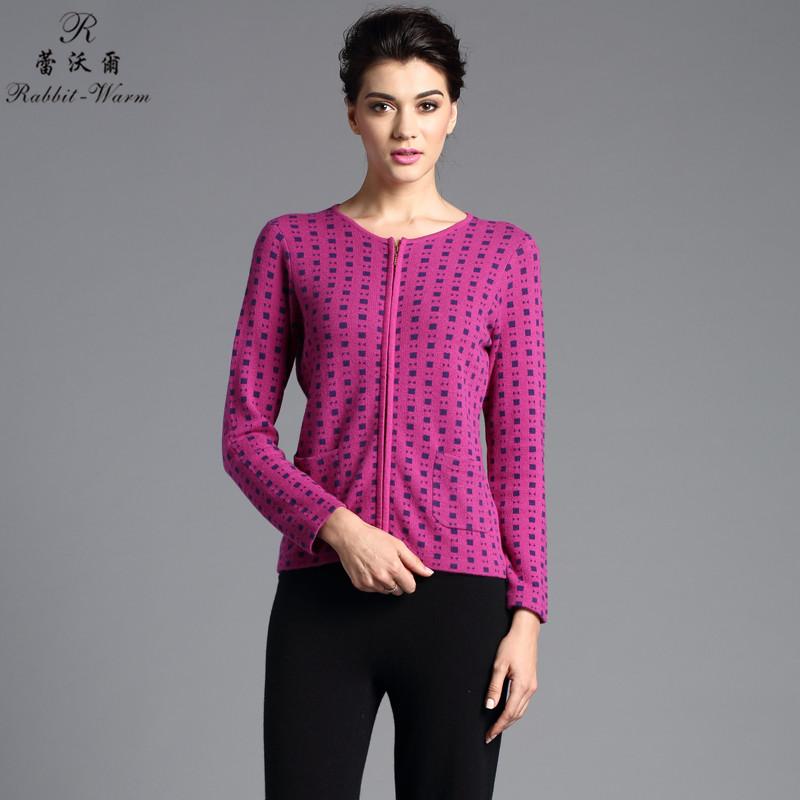 蕾沃尔 2014新品 女式圆领提花开衫 兔绒衫 100%纯兔绒毛衣