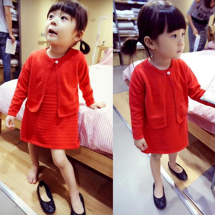 儿童针织长袖套装 2015春秋新款纯棉毛线公主宝宝两件套 女童装潮