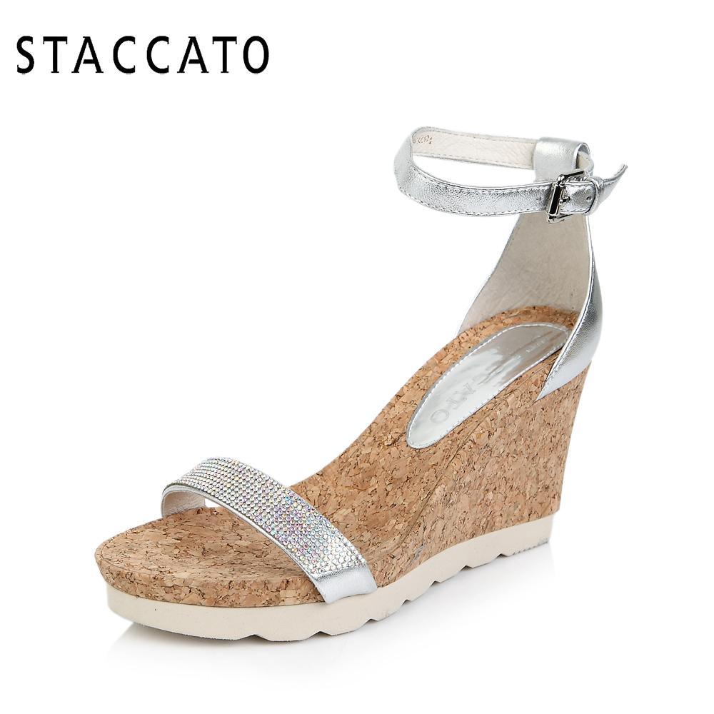 思加图夏季专柜款时尚水钻舒适坡跟羊皮女凉鞋9RG04BL4