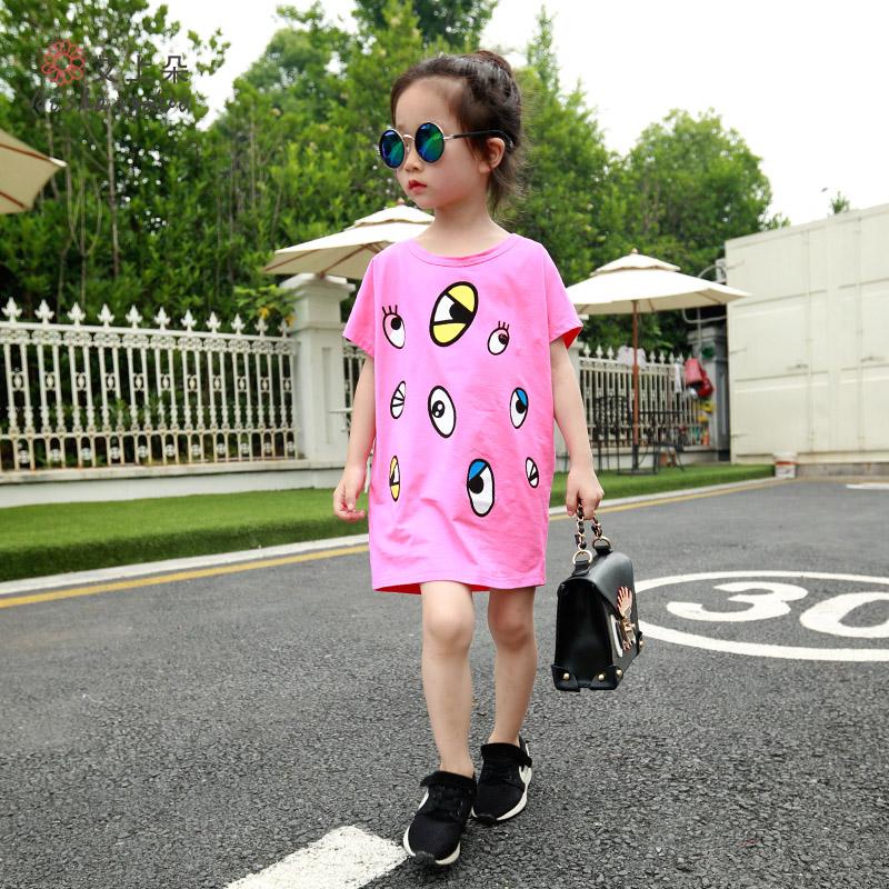 艾上朵女童长款短袖T恤2015夏装新款韩版百搭儿童眼睛印花上衣
