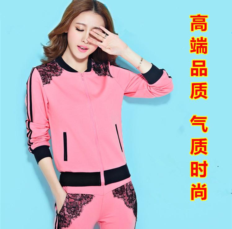 春秋季新款韩版女装大学生蕾丝运动套装高中生运动服少女休闲卫衣