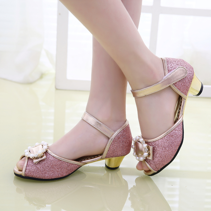 女童凉鞋2015夏新款粉色小高跟凉鞋韩版女孩童鞋魔术贴舞蹈公主鞋
