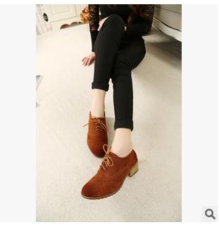 休闲骑法国新款英式单鞋2015年女鞋最新上市绑带女鞋真皮透气柔软