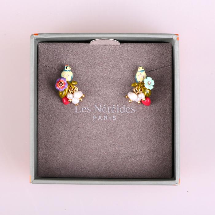 代购Les Nereides珐琅彩釉镶钻花朵小鸟珍珠耳钉耳环 女耳饰品