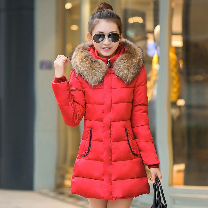 棉衣女冬装中长款韩版修身拼色大毛领羽绒棉服大码潮加厚棉袄外套