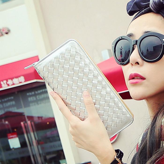 猫猫包袋2015新款欧美编织菱格长款钱包手拿包横款女包M66-016