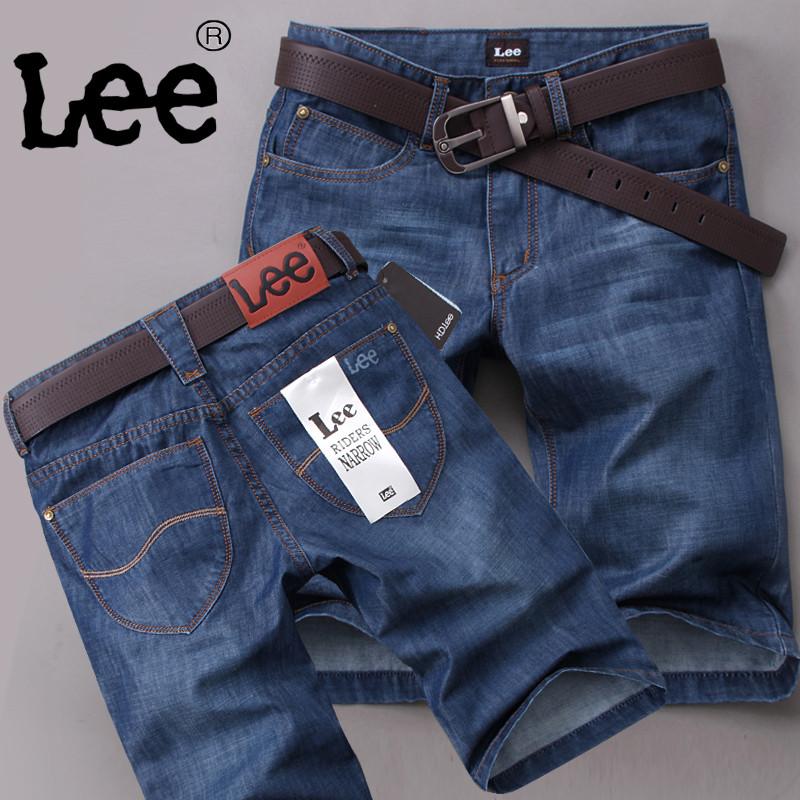 lee男士牛仔短裤男5分夏天薄款商务牛仔中裤夏季直筒宽松七分马裤