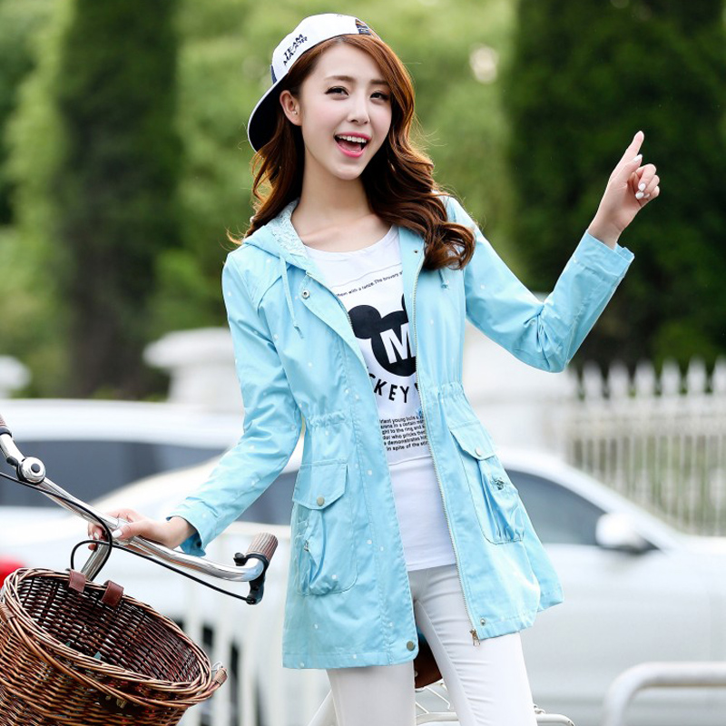 2015秋装新品韩版少女装休闲百搭圆点风衣修身上衣 长袖风衣外套