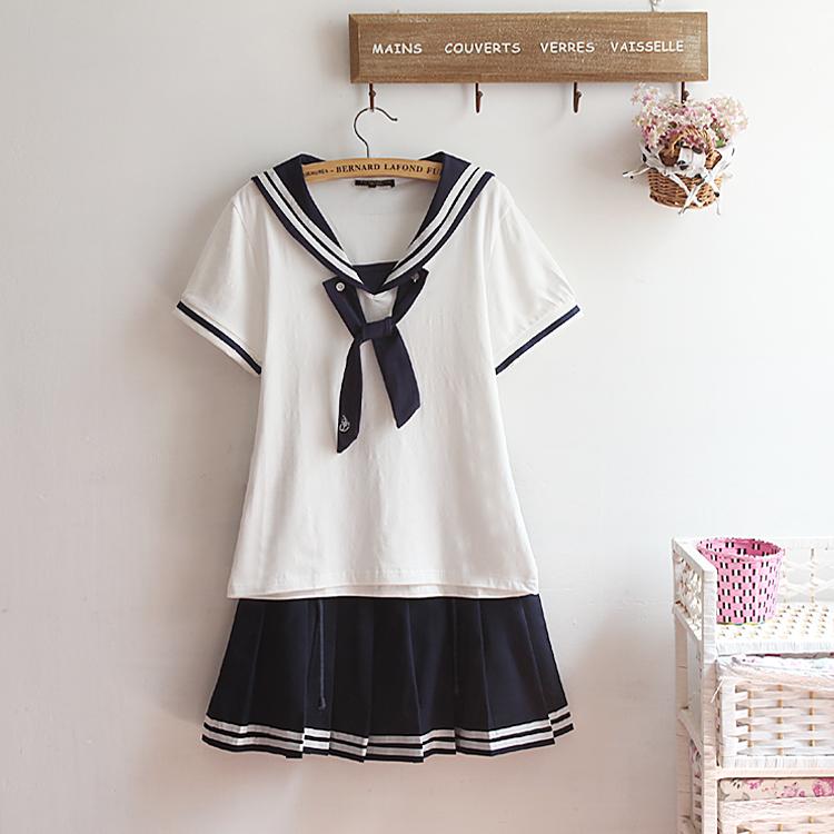 2015夏装新款日本校园jk制服百褶裙子关西领海军半身裙水手服套装