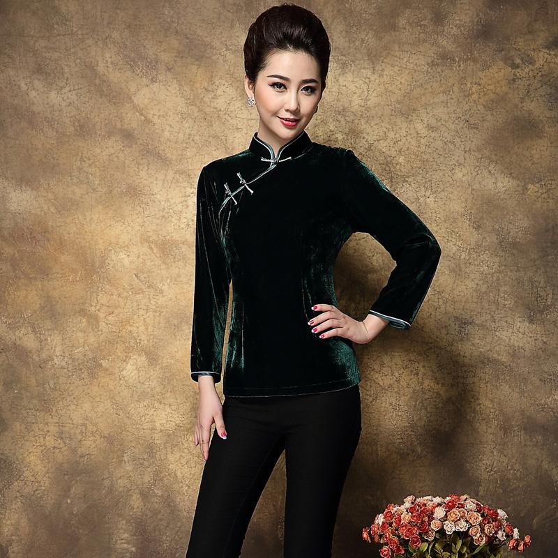秋冬新款复古中式唐装民族改良长袖高档纯色金丝绒妈妈旗袍短上衣
