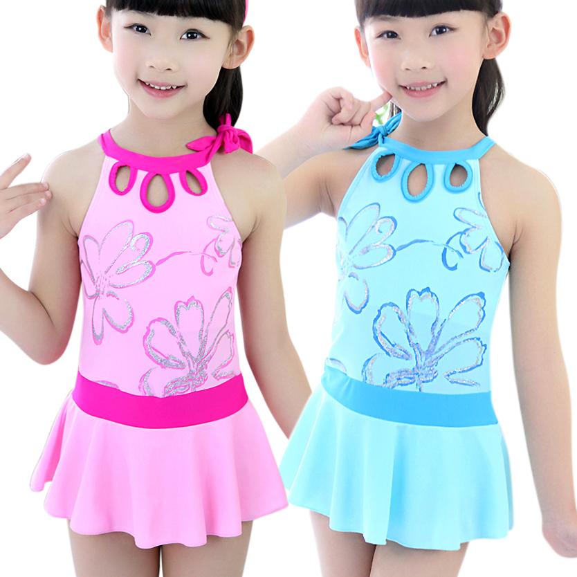 儿童泳衣女童连体裙式游泳衣学生少女泳装特价包邮新款3-16岁