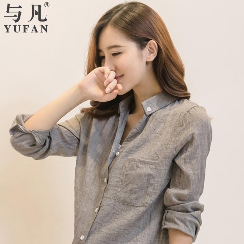 与凡2015夏装新款衬衫女长袖棉麻宽松上衣百搭中长款韩版防晒衬衣