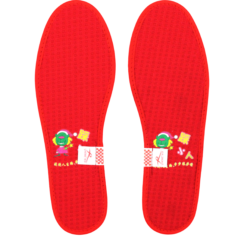 ... 浪莎竹炭纤维 男士本命年 踩小人鞋垫 红色 透气鞋垫