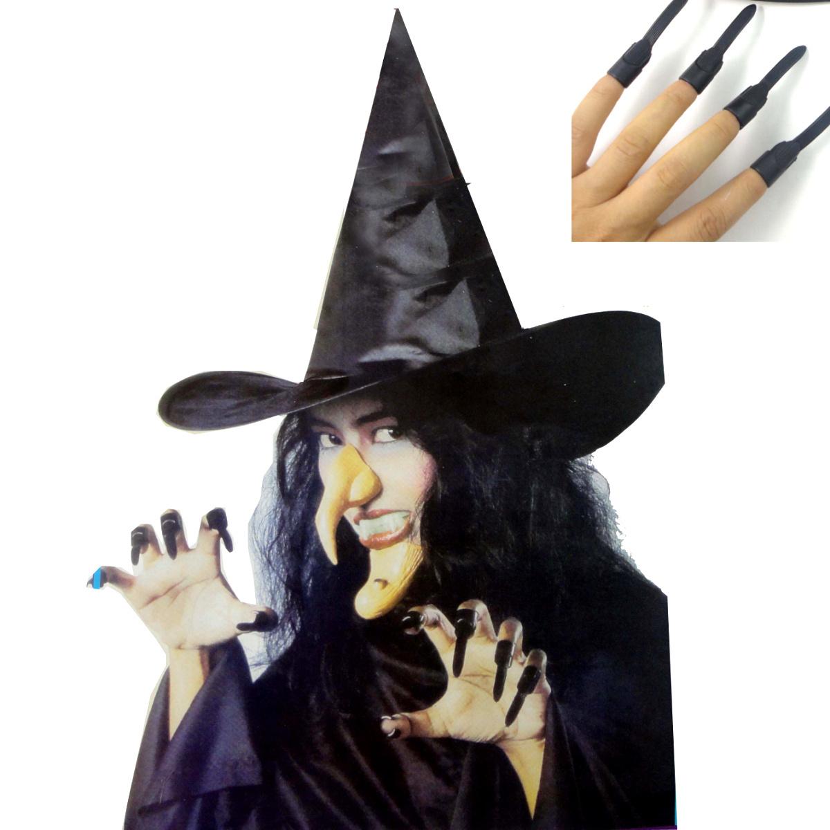 千奇坊愚人节整人万圣节服装道具 巫婆帽子 假牙指甲鼻子下巴组合