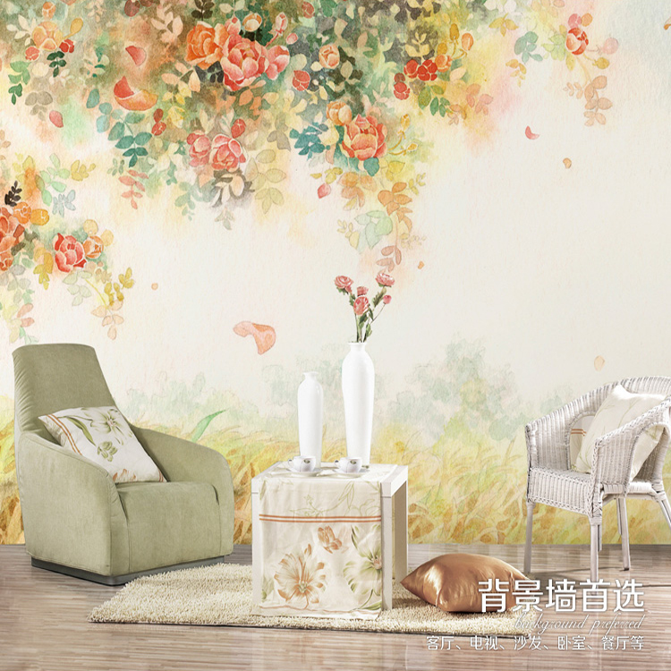 特价大型壁画 客厅卧室电视墙背景墙壁纸墙纸 浪漫温馨 彩绘月季