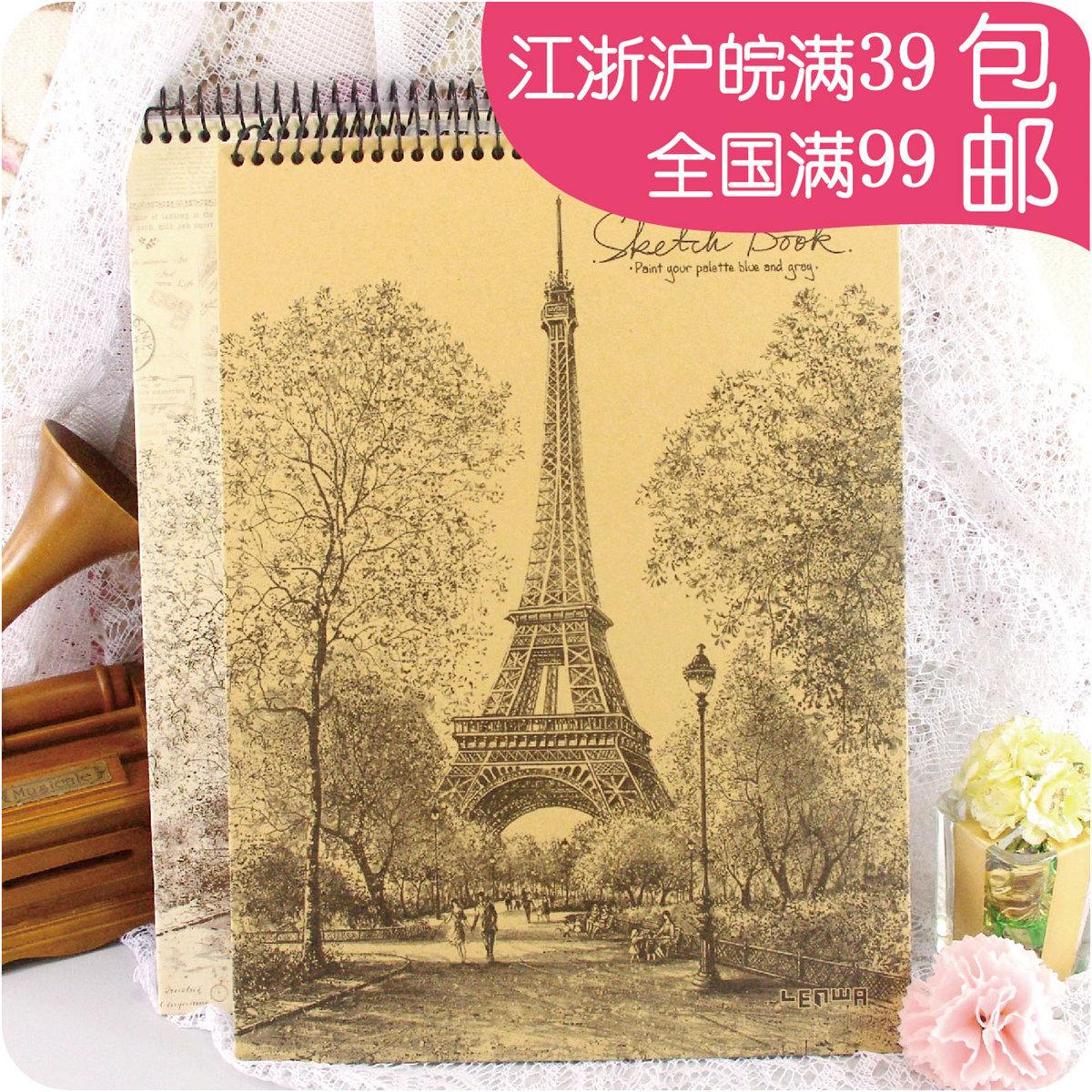 埃菲尔铁塔素描图片_姑姑熊法国巴黎铁塔写生素描空白笔记本