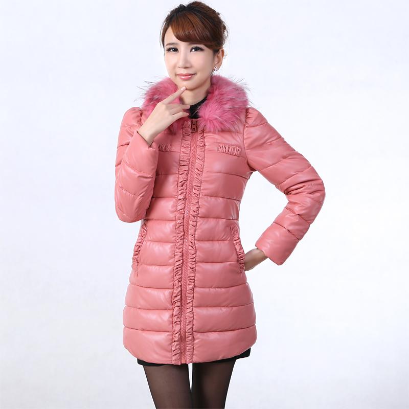 2014冬装新品女装 韩版泡泡袖大毛领中长款棉衣 女PU皮羽绒棉外套
