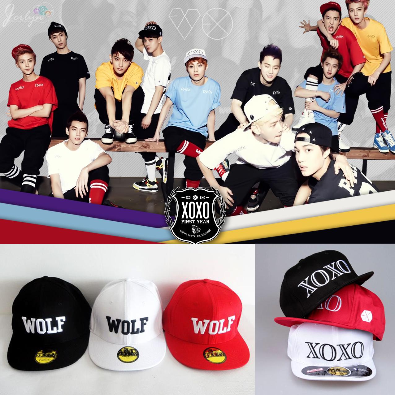 wolf应援_EXO 正规一辑 XOXO/WOLF/88 同款 刺绣 棒球鸭舌帽 现货热卖中!