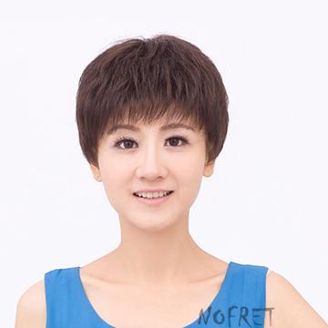 娜菲尔假发短发女圆脸时尚短直发型假头发套帅气女士蓬松jiafa新