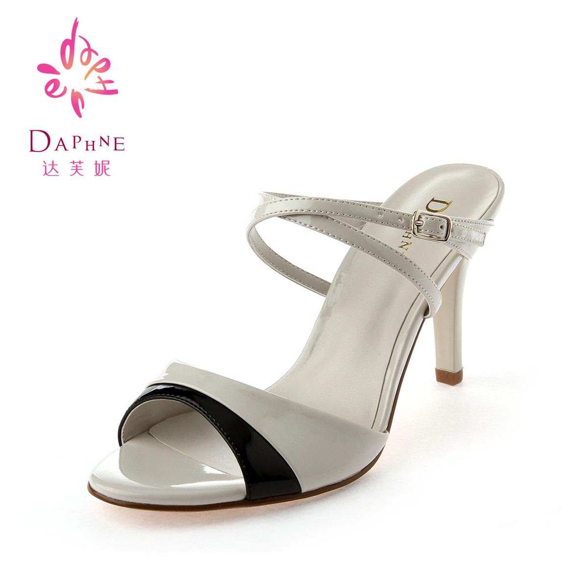 达芙妮高跟鱼嘴鞋_Daphne/达芙妮13年夏新款女鞋1013303199 撞色双拼细跟超高跟凉鞋