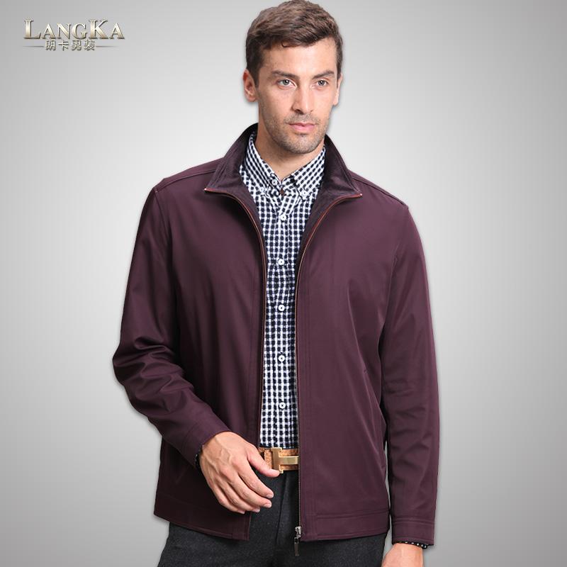 朗卡正品春秋薄款夹克中老年大肚男装商务休闲短款上衣男式装外套