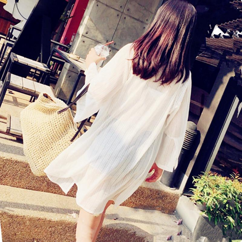 防晒衣女学生韩版潮bf2018夏季宽松网纱薄外套中长款超仙防晒开衫