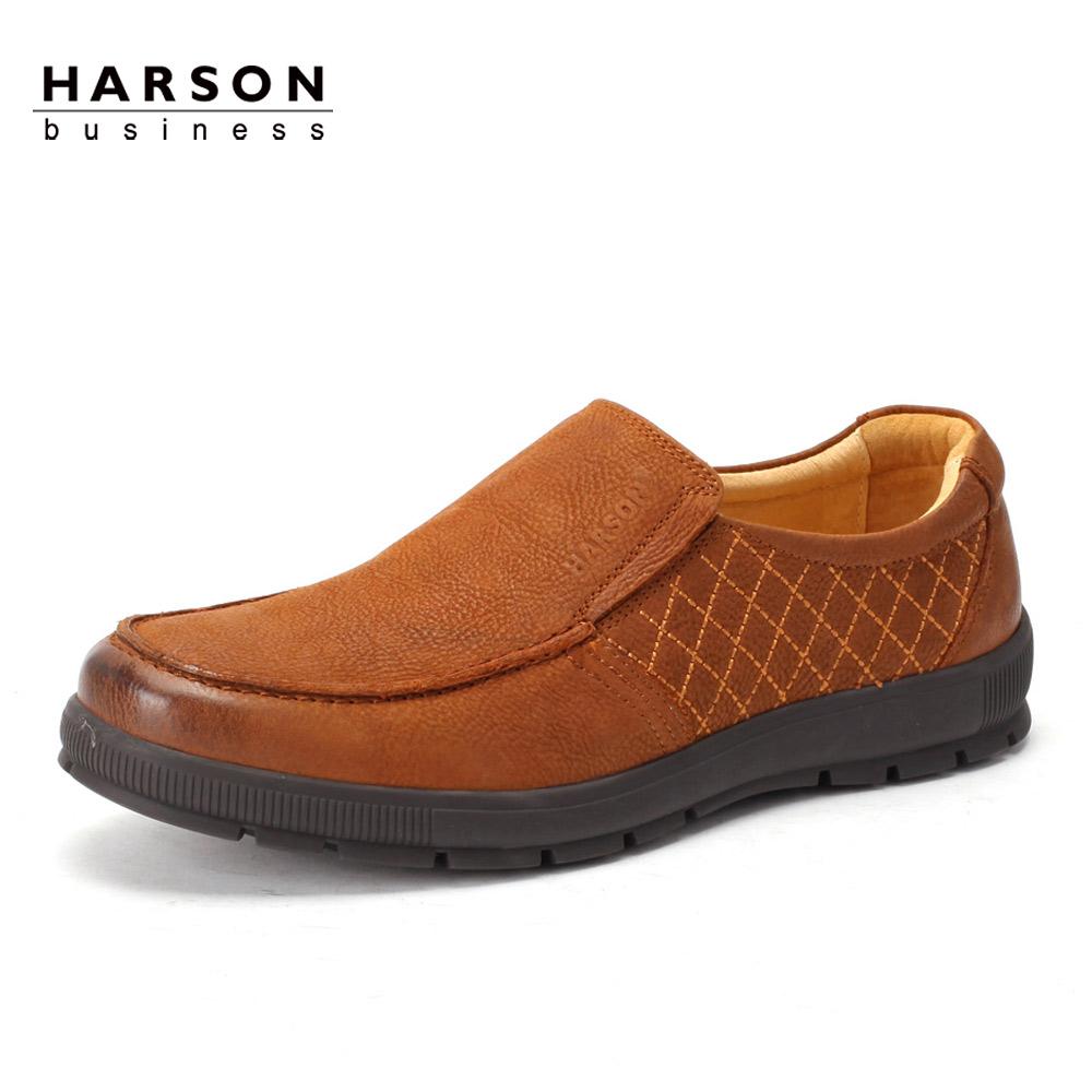 哈森男皮鞋_哈森/harsom真皮男鞋 2013秋季新款头层皮休闲扁头皮鞋ML30153