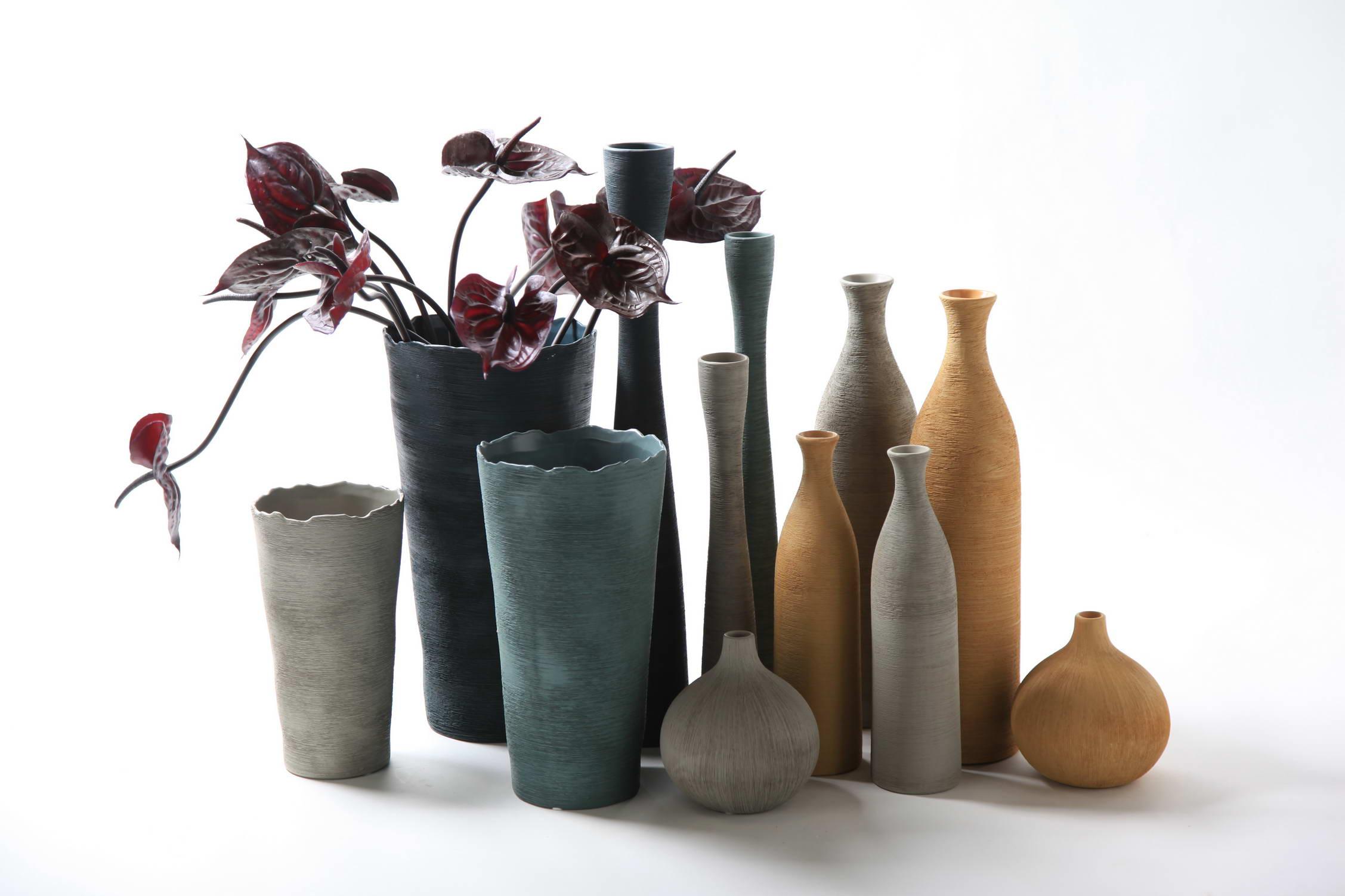 花瓶摆件 软装简约现代陶瓷哑光釉三件套花插居家装饰品工艺图片