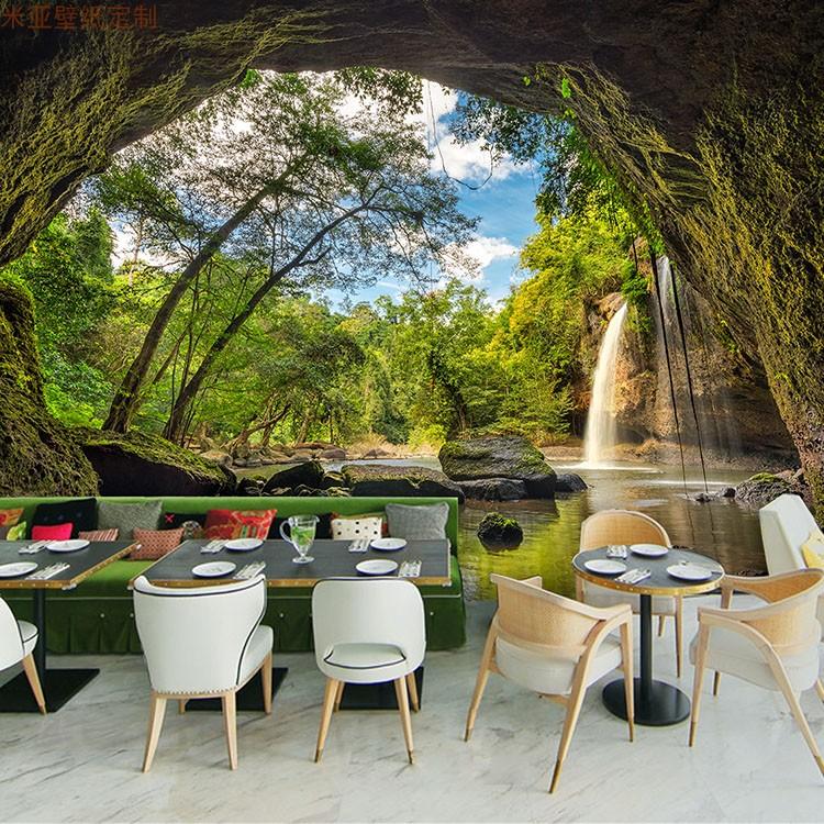 3D立体大自然绿色森林风景壁画延伸空间客厅电视背景墙壁纸5d墙纸