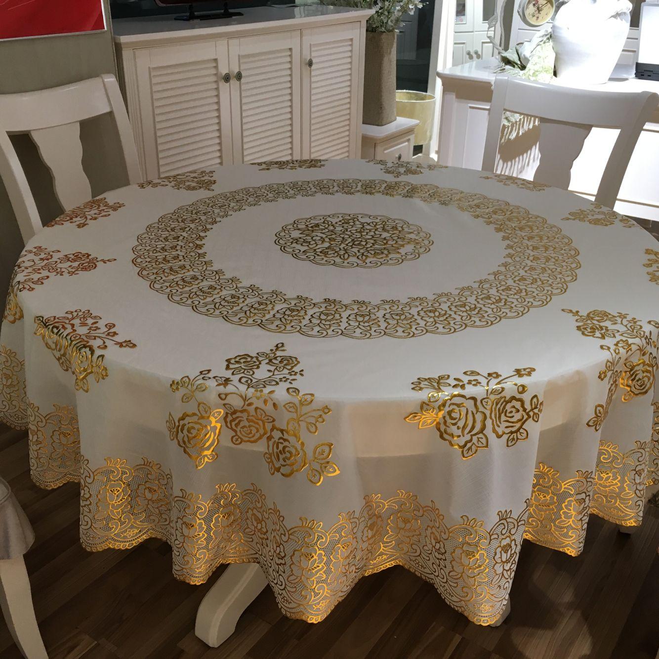 复古风饭店家庭塑料素色垫大圆桌布PVC餐桌台布客厅台面吃饭布