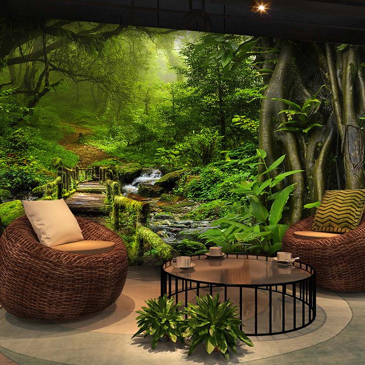 森林墙纸3d立体延伸空间壁画墙布装饰客厅卧室餐厅工作室壁纸装修