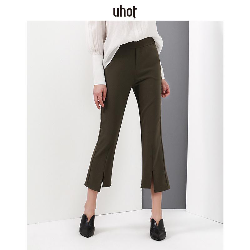 诱货uhot2018春季新款修身显瘦小喇叭裤弹力百搭纯色女裤九分裤