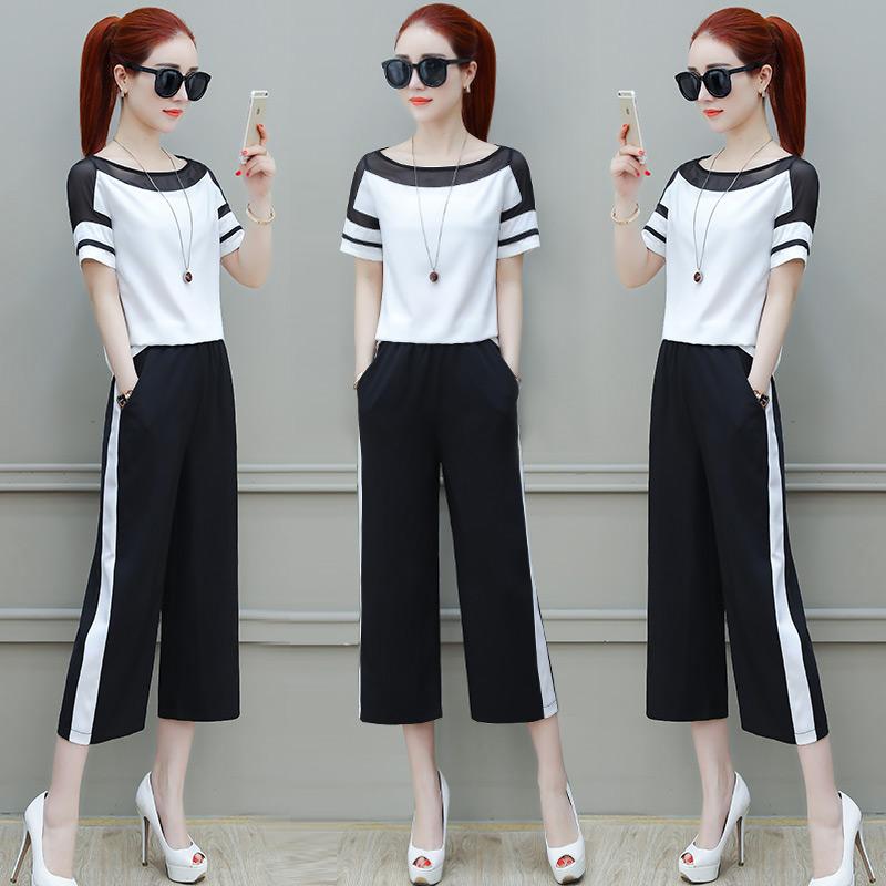 时尚套装女2018夏装新款俏皮女装夏季短袖雪纺阔腿裤两件套夏天潮