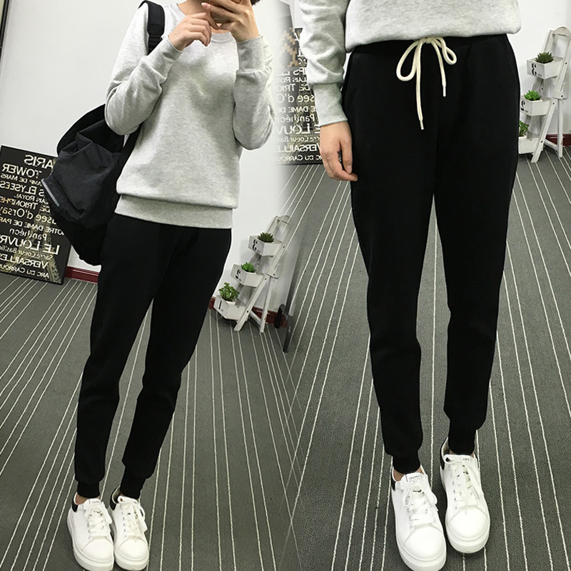 春季运动裤女学生宽松薄款长裤小脚收口直筒显瘦萝卜裤休闲哈伦裤