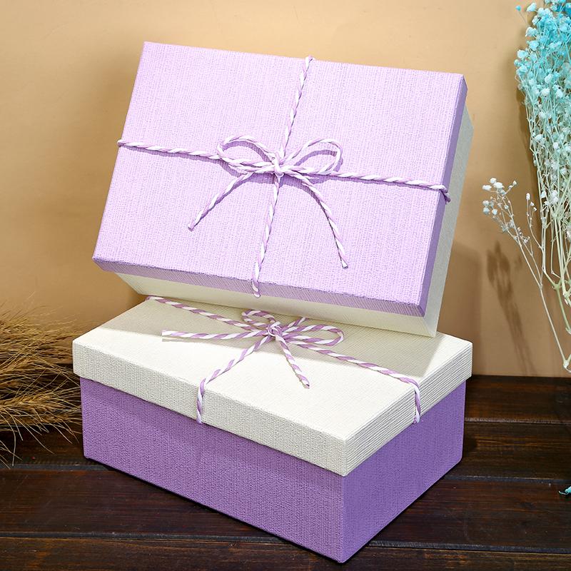 礼品盒长方形小号紫色帖盒包装盒高档礼物盒子简易纸盒礼盒定制