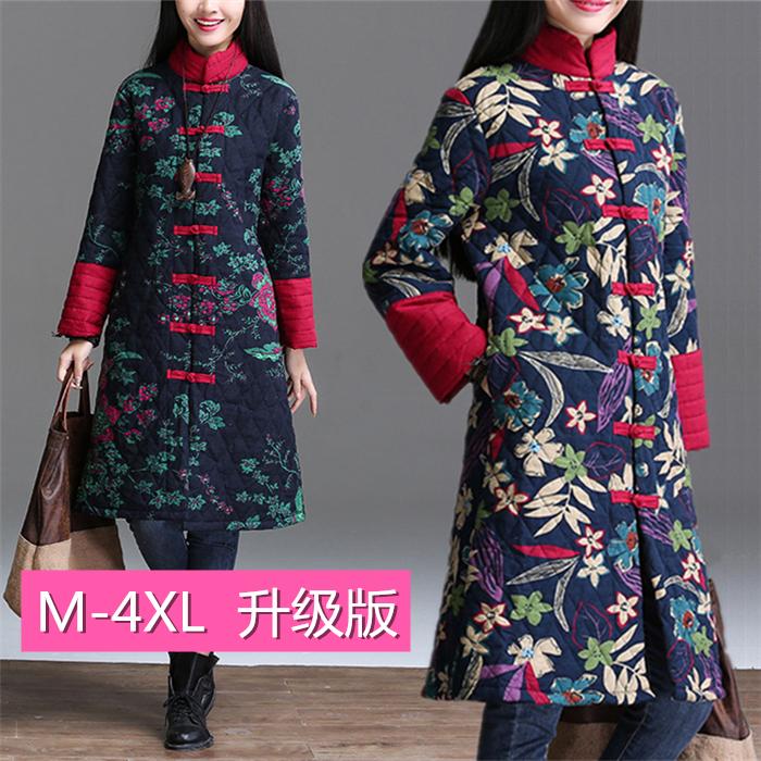 包邮民族风女装冬装棉麻棉衣中长款棉服中式唐装印花中国棉袄外套