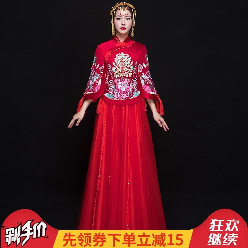 秀禾服新娘2018新款中式婚纱礼服复古宫廷女旗袍中国风敬酒服夏季