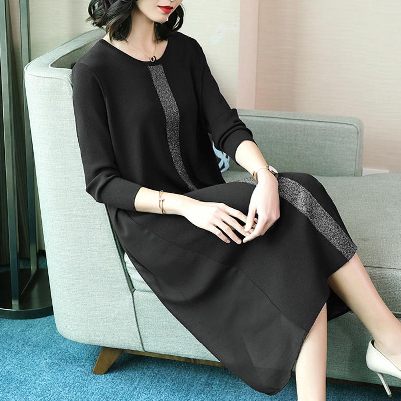 春装大码冰丝针织衫女中长款黑色连衣裙韩版显瘦过膝宽松薄打底裙