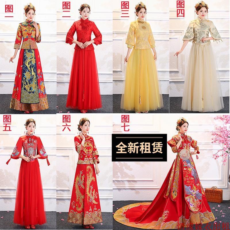 出租秀禾服新郎新娘中式婚纱拖尾复古结婚礼服公主中式宫廷中国风