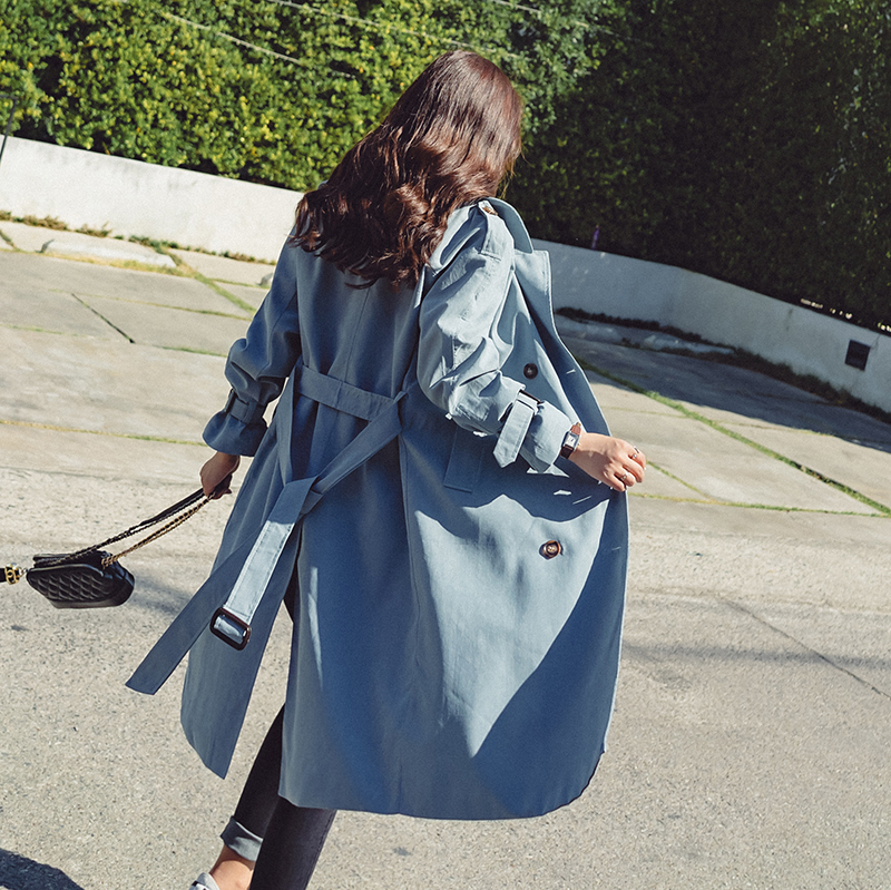 2018新款春韩版中长款雾霾蓝风衣女系带收腰休闲百搭chic外套