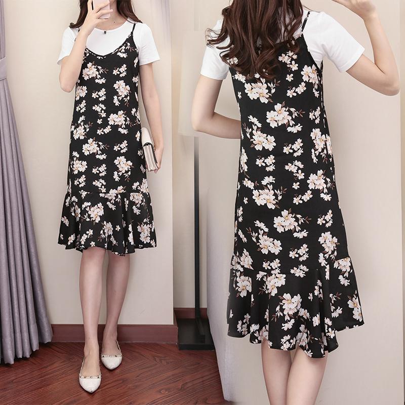 吊带裙套装女夏季2018新款韩版雪纺宽松两件套碎花连衣裙显瘦短袖