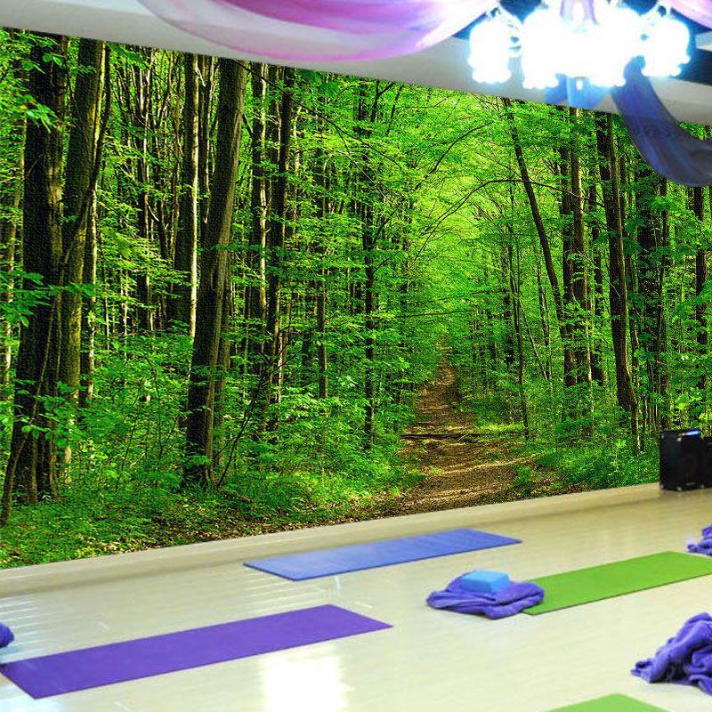3d森林大自然风景墙纸餐厅酒店装饰沙发背景墙瑜伽馆空间延伸壁纸