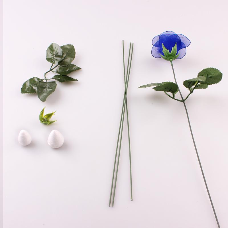 玫瑰/酒杯玫瑰花杆/花萼/花苞花叶 丝网花丝袜花手工制作材料批发