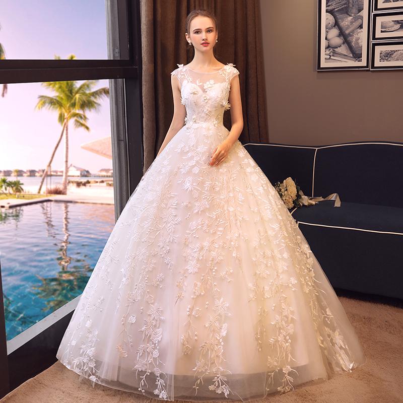 婚纱2018新款春夏季一字肩简约孕妇礼服结婚礼服新娘拖尾公主梦幻