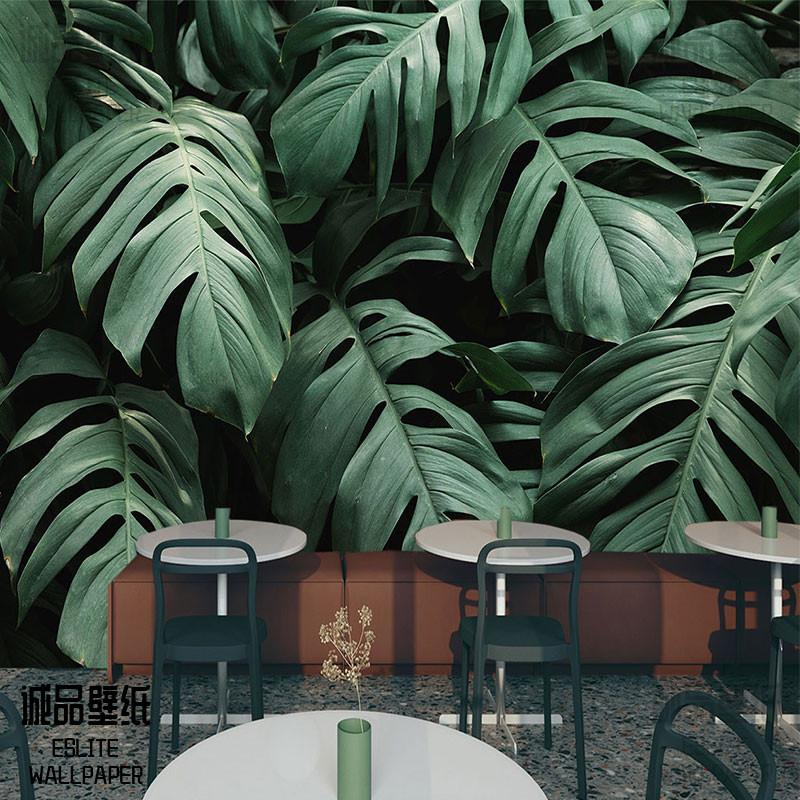 3d立体绿色植物墙纸森林大自然叶子墙布餐厅简约创意延伸空间壁纸