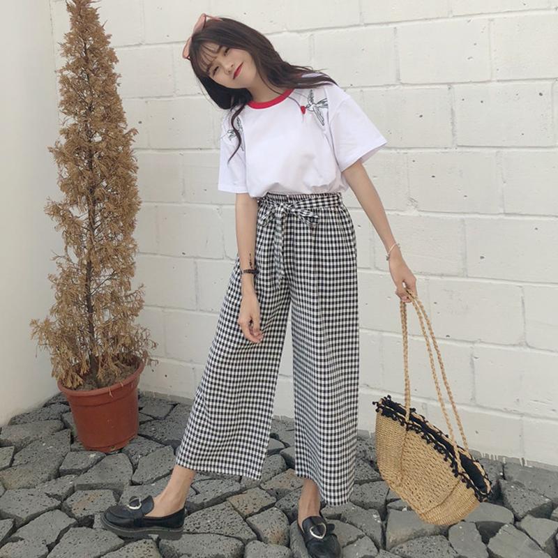 时尚套装女夏装新款韩版撞色刺绣短袖T恤+格子阔腿裤九分裤两件套