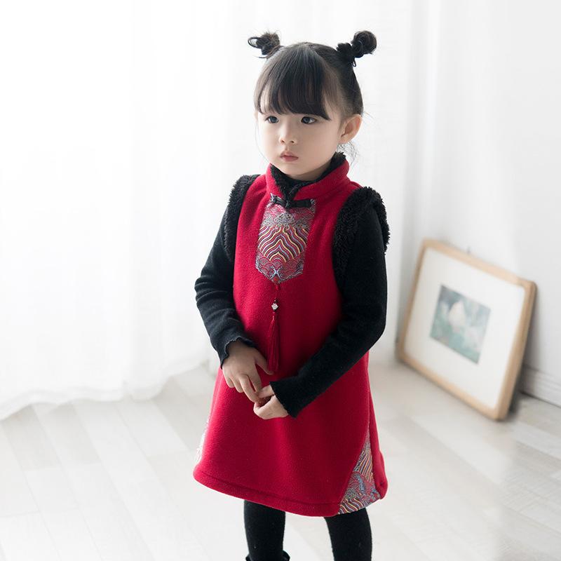 女童旗袍过年童装儿童中国风背心马甲女宝复古唐装汉服新年装礼服