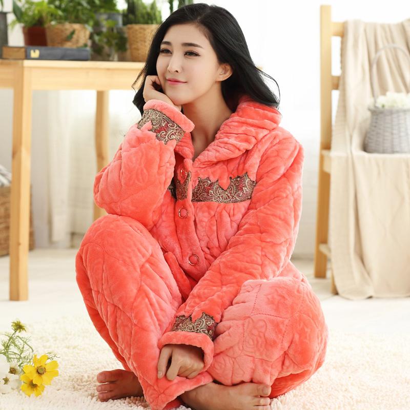 2016新款冬季加大码加厚珊瑚绒法兰绒夹棉睡衣女士花边纯色家居服